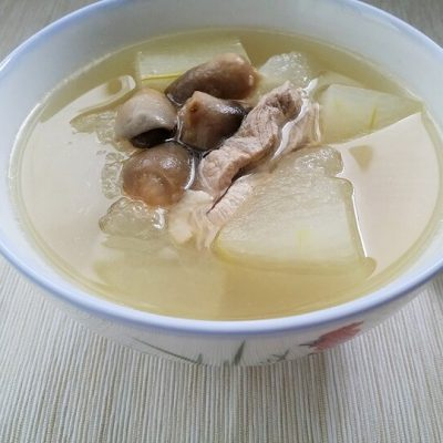 Winter Melon with Lean Pork & Straw Mushrooms Soup