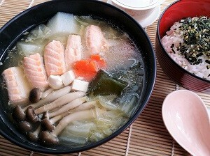 salmon belly miso soup