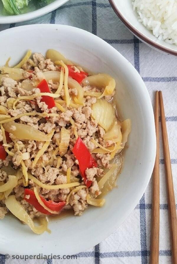 Stir fry pork with salted vegetables