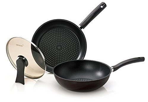 Happycall 5 Layer Diamond Nonstick Pan and Wok 3-piece Set
