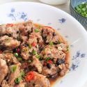 Steamed pork ribs in black bean sauce