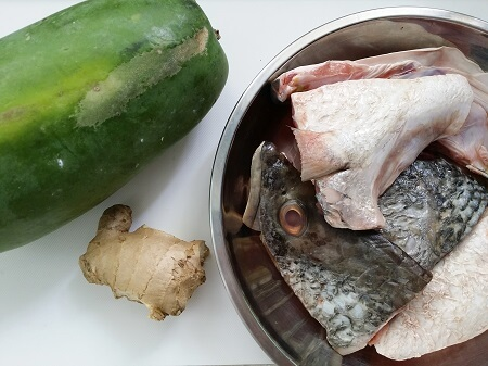 Green papaya fish soup ingredients