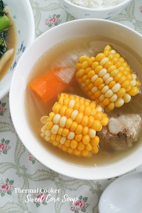 Corn with pork ribs soup
