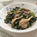 stir fried kailan with mushrooms and oyster sauce