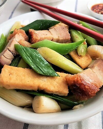 Stir-fried Leeks with Roast Pork and Tofu