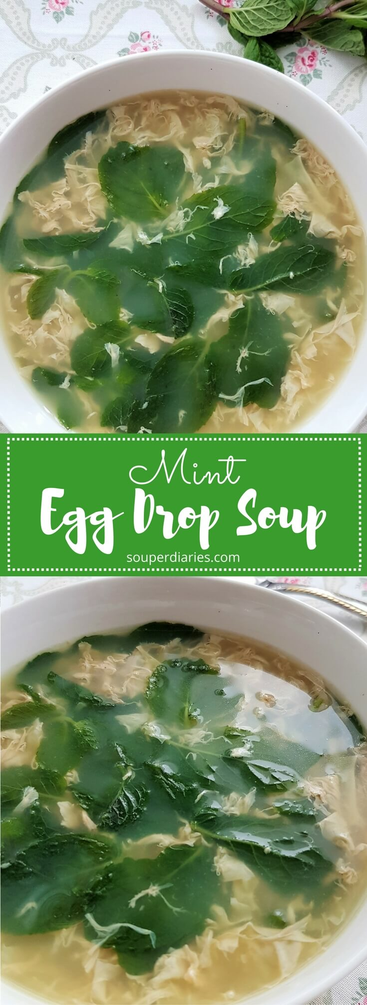 Simple egg drop soup recipe with mint