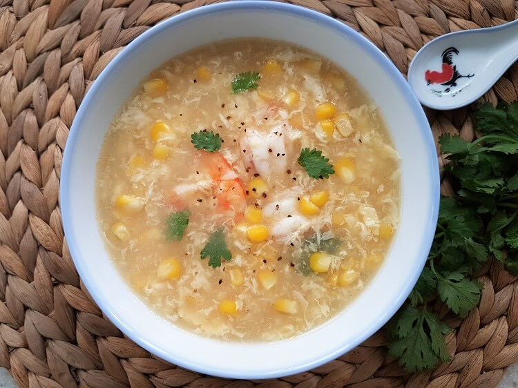 Chinese Egg Drop Soup Recipe with Prawns and Corn