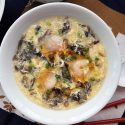 Simple egg drop soup with seaweed