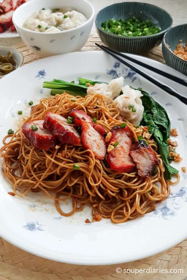 Dry wonton noodles with char siu