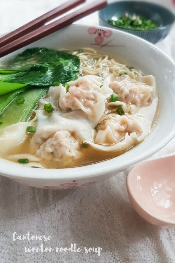 Cantonese wonton noodle soup - delicate shrimp wontons with thin noodles in a hot tasty broth.