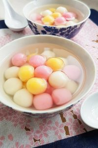 Tang Yuan (Glutinous Rice Balls) with Sweet Ginger Syrup