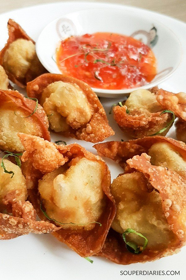 Chinese fried wonton recipe with kaffir lime leaves